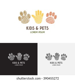 Kids and pets logo template in liner style. Creative vector label for zoo. Icon of a palm of the child, paws of a puppy and a kitten.