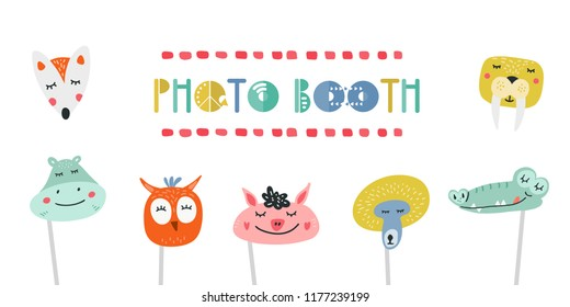 Kids photo booth props set vector illustration. Collection of animals heads, masks for birthday party or masquerade with photobooth shooting
