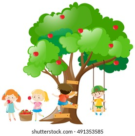 Kids picking out apples from tree illustration