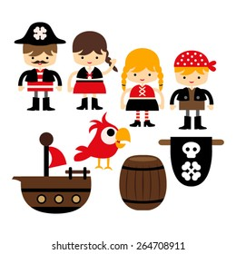 Kids in pirate costumes vector.