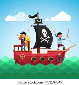 Kids pirate ship with boy and girl captain at the helm (steering wheel) sailing in the sea with black flag and sail decorated with scull and crossed bones. Flat style vector cartoon illustration.