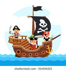 Kids pirate ship sailing in the sea with black flag and sail decorated with scull and cross bones. Flat style vector cartoon illustration isolated on white background.