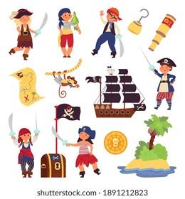 Kids pirates characters. Cartoon funny children, ocean adventures collection. Ship treasure map, hook captain in costume decent vector set