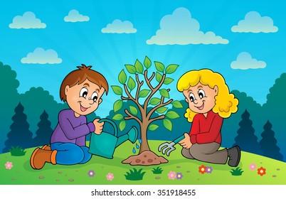Kids planting tree theme image 3 - eps10 vector illustration.