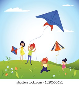 Kids play field with kites concept background. Cartoon illustration of kids play field with kites vector concept background for web design
