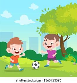 kids play football in the garden vector illustration