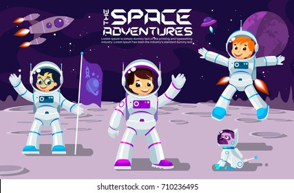 Kids play and have fun in space on the moon, play and work, banner or poster cool vector design illustration