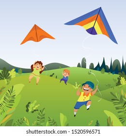 Kids play with kites concept background. Cartoon illustration of kids play with kites vector concept background for web design