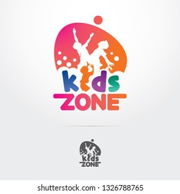 Kids play logo design, silhouette three kids playing together. playground logo for kids zone - Vector