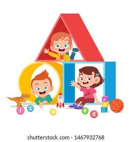 kids play on shape vector illustration