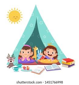 kids play on tent vector illustration
