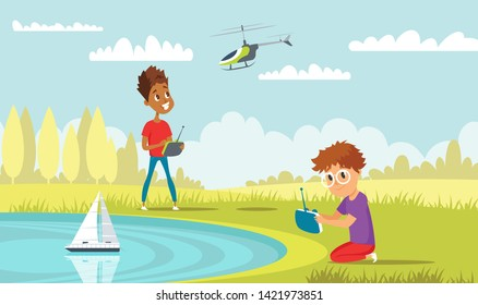 Kids play with rc toys flat vector illustration. Little playful boys in park cartoon characters. Happy children with remote control boat and helicopter. High tech recreation
