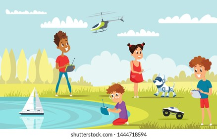Kids play with rc toys flat vector illustration. Little playful boys and girl in park cartoon characters. Happy children with remote control car, boat, helicopter and robot dog. High tech recreation