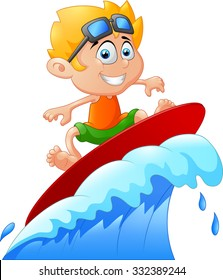 Kids play surfing on surfboard over big wave