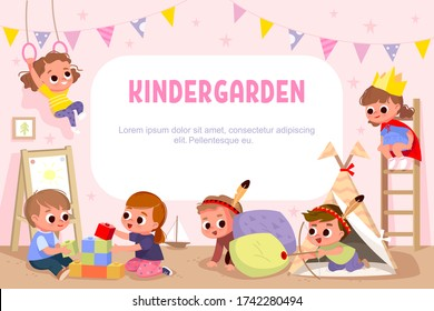 Kids play together in kindergarden.
