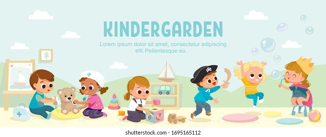 Kids play together in kindergarden. Playroom with children.