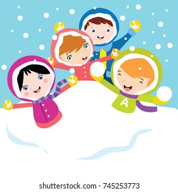 Kids play in winter. Children playing in the snow. Winter post-card design series