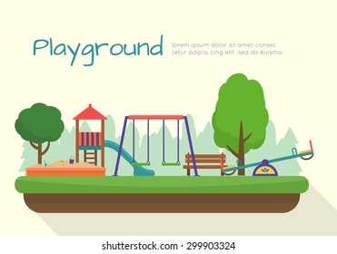 Kids playground. Buildings for city construction. Set of elements to create urban background, village and town landscape.  Flat style vector illustration.