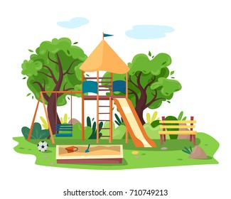 Kids playground in city park. Swings, sandbox, slide, tree and bench.  Flat style vector illustration.