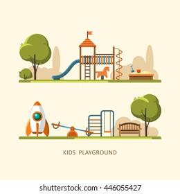 Kids playground, city park. Vector illustration.