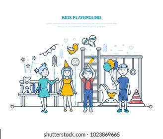 Kids playground concept. Little children, friends, have fun and play on the children's playground, next to swings, toys, in the city recreation park. Birthday party. Illustration thin line design.