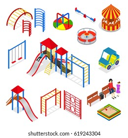 Kids Playground Elements Set Isometric View Isolated on Background Urban Outdoor Leisure for Child Amusement. Vector illustration