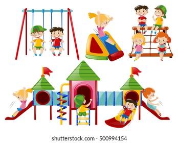 Kids in the playground equipment