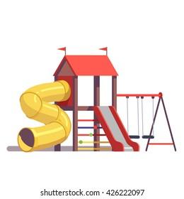 Детская площадка оборудование с качелями, горками и трубкой, изолированные на белом фоне. Современная плоская векторная иллюстрация мультяшного клипарта.