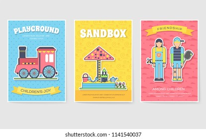 Kids playground field  brochure cards set. staff equipment template of flyear, magazine, poster, book cover, booklet, banners. Outdoor park invitation concept. Layout illustrations modern