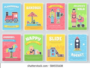 Kids playground field  brochure cards set. staff equipment template of flyear, magazine, poster, book cover, booklet, banners. Outdoor park invitation concept. Layout illustrations modern page