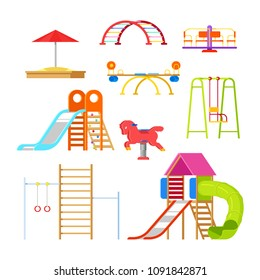 Kids playground and kindergarten, isolated icons and design elements. Swing, slide, sandbox and other outdoor play equipment. Vector cartoon illustration