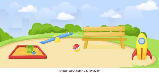 Kids playground. Park and playground cartoon, vector art and illustration. Happy summer recreation background. Fun childhood kindergarten.