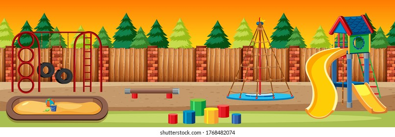 Kids playground in the park with red and yellow light sky and many pines cartoon style illustration
