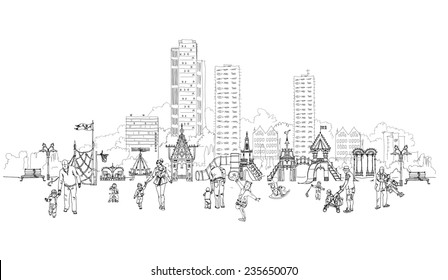 Kid's playground in residential aria illustration