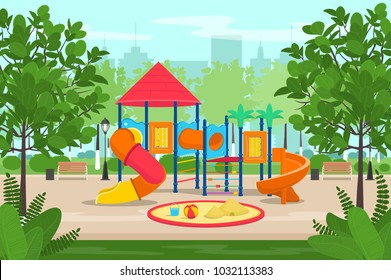 Kids playground with slides and tube in the park. Cartoon vector illustration.