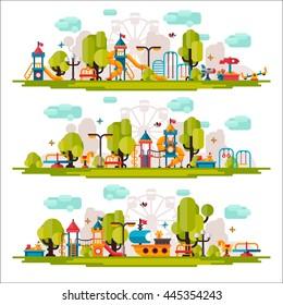 Детская площадка. Качели, песочница, песочница, скамейка, дерево, горка. Детская площадка плоская фондовая иллюстрация с изолированными элементами на белом фоне.