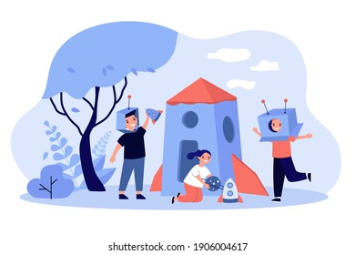 Kids playing astronauts and aliens outdoors. Children having fun with cardboard toy spaceship or rocket. Vector illustration for childhood, space exploration fantasy concept