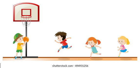 Kids playing basketball at the court illustration