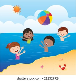 Kids playing beach ball. Happy kids playing beach ball in the sea under the sun.