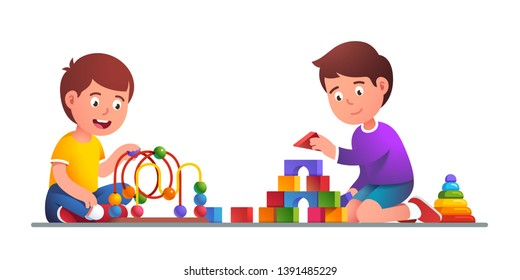 Kids playing bead maze roller coaster, wooden blocks building tower & sort & stack toys. Friends play together. Child educational development game. Flat vector character illustration