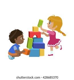 Kids Playing Bricks Colorful Simple Design Vector Drawing Isolated On White Background