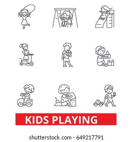 Kids playing, children playing, kids playing outside, jumping, happy, playground line icons. Editable strokes. Flat design vector illustration symbol concept. Linear signs isolated on white background