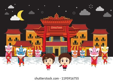 Kids playing in china town at night. vector illustrator