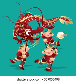 Kids playing Chinese dragon dance