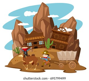 Kids playing cowboy in western town illustration