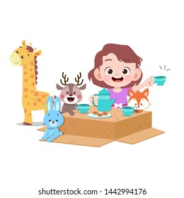 kids playing with doll vector illustration