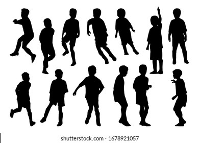 Kids playing football. Boys posing set. Silhouettes on white background