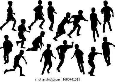 Kids playing football. Boys silhouettes set white isolated