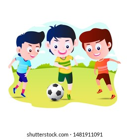 Kids Playing Football Cartoon Vector Illustration