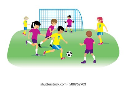 Kids playing football, vector